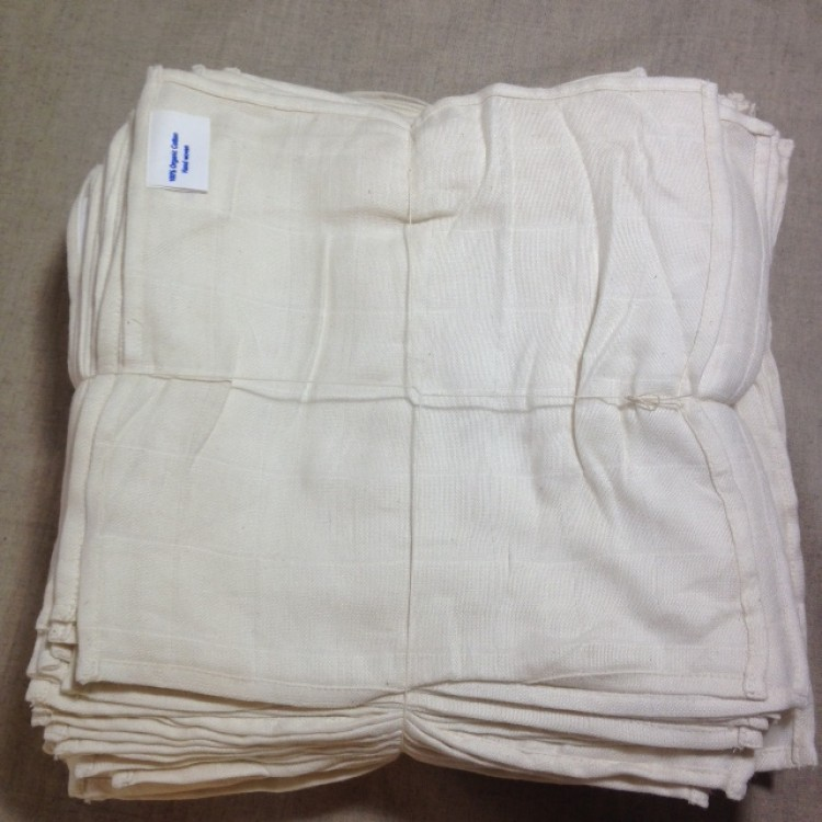 Organic Cotton 100 Muslin Gauze Cloths 30x30cm