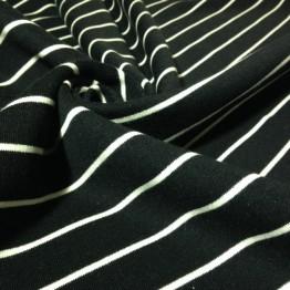 Fleece - Black with White Stripes